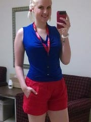 This is the photo Sylva Stoel posted on her Twitter account last week, saying she'd been told the shorts she was wearing were too revealing for work.