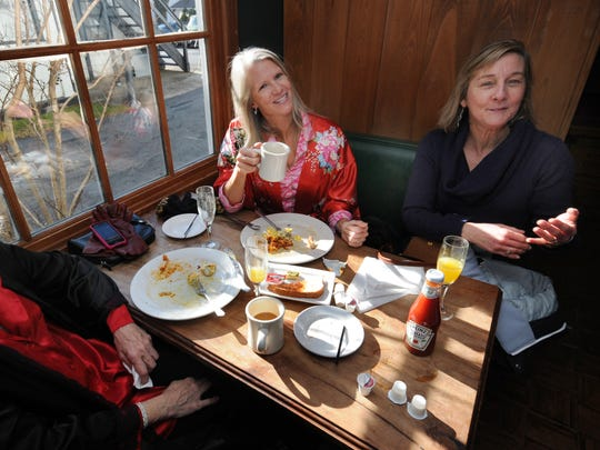 A trio of diners at the weekly pajama brunch  at Buckley's Tavern in Centreville.