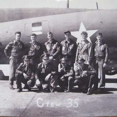 Leo DeGraw's crew in 1943. His B-17 bomber was shot