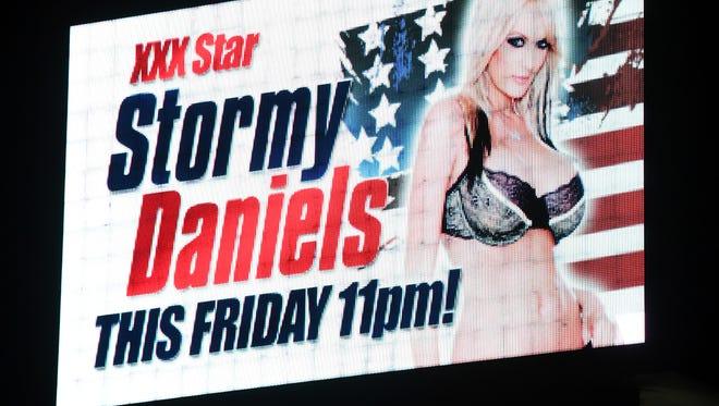 Sign in Las Vegas strip club  advertises performance by ex-porn star Stormy Daniels, Jan. 25, 2018.