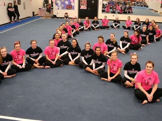 The Livonia Red and Blue gymnastics team members formed the shape of a ribbon prior to Wednesday's 'Flip For A Cure' meet.