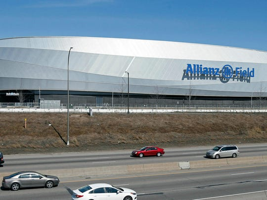 "n this March 26, 2019, photo, the new stadium of the Minnesota United FC Loons is shown in St. Paul, Minn. The World Cup champion U.S. women's national team could make a stop at Allianz Field on its upcoming ""Victory Tour."" (AP Photo/Jim Mone)"