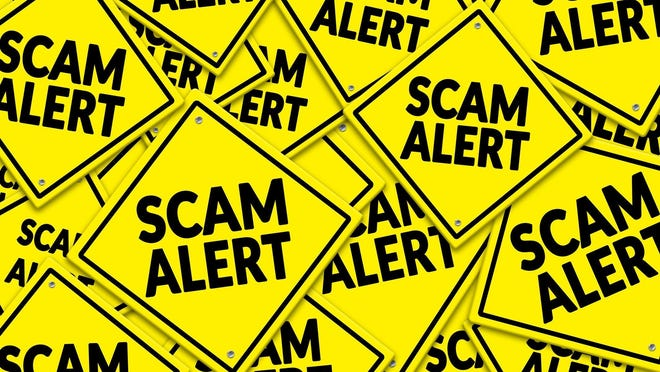 "Yellow signs labeled ""Scam Alert."""