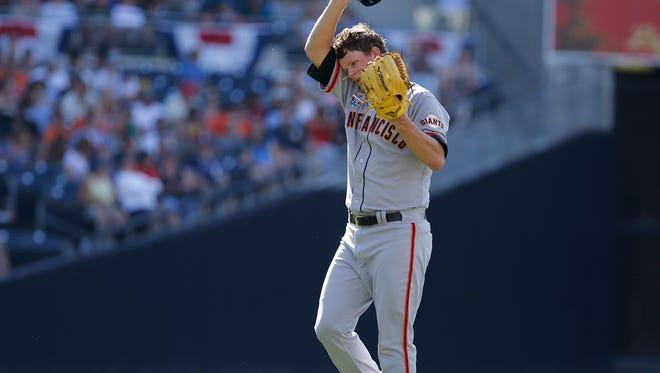 Matt Cain will finish the season with a 2-7 record and a 4.18 ERA. (AP Photo/Don Boomer)