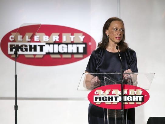 Lonnie Ali, the wife of Muhammad Ali, speaks during