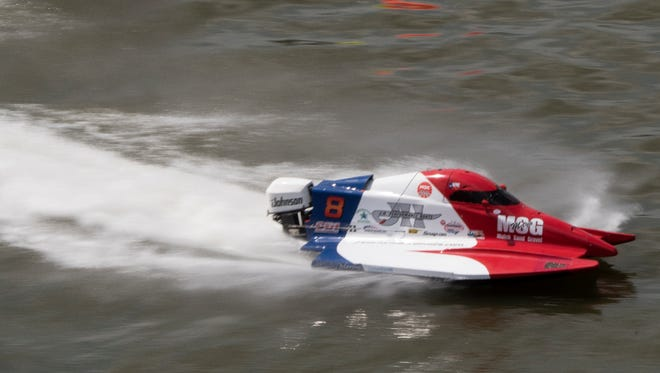 Jeremiah Mayo, of Houston, Tx, 18, bottom, races against other boaters in the Thunder on the Cumberland event on the Cumberland River on Friday, June 15, 2018, in Nashville, Tenn.