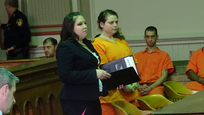 Jessie L. Knipe appeared in common pleas court with attorney Jessica Wirick to plead not guilty to a single charge stemming from a Dec. 31 shooting on Pine Street. Investigators say she tampered with the gun used in the crime.