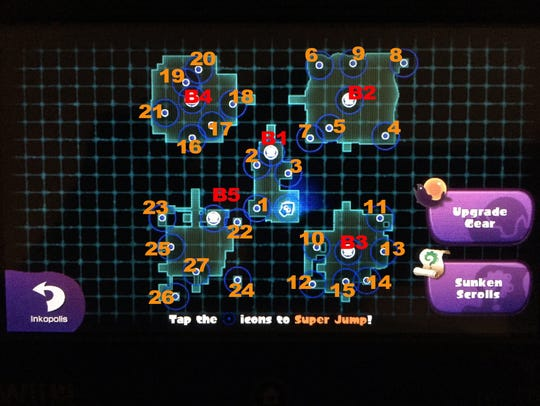 A map of Splatoon's Octo Valley and all kettle entrance