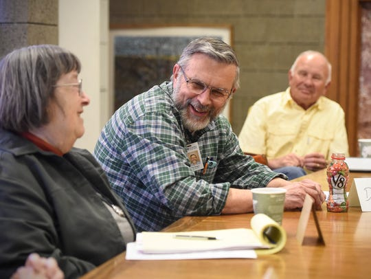 Don Sieger smiles during a Memory Writers group meeting
