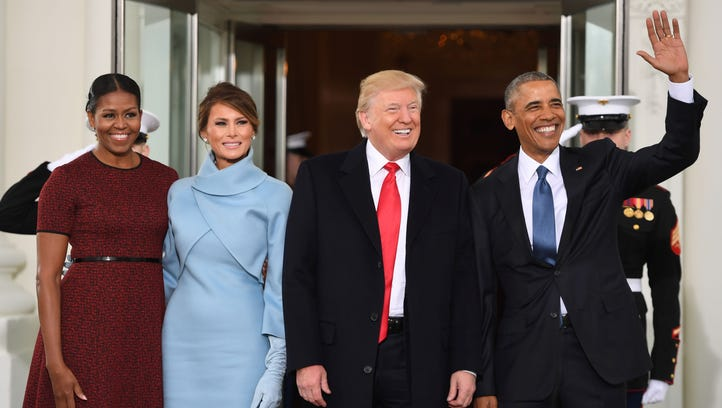 U.S. President Barack Obama and First Lady Michelle welcome Preisdent-elect Donald Trump and his wife Melania to the White House in Washington, D.C.