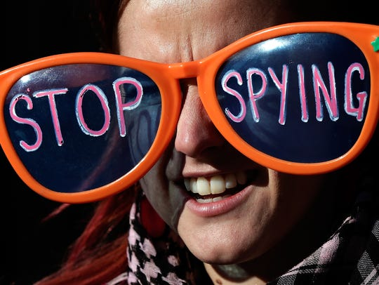 An activist protesting NSA surveillance in January,