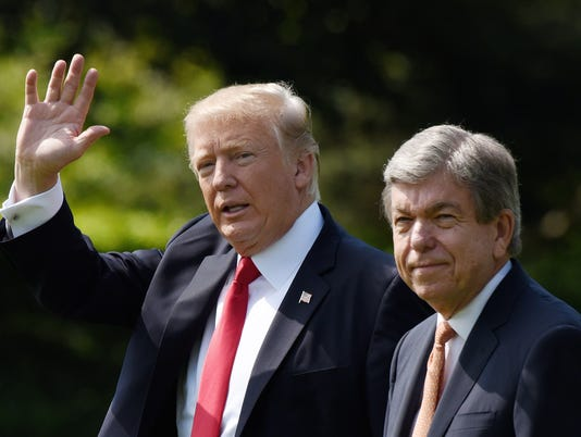 U.S. President Donald Trump and  U.S. Senator Roy Blunt  depart the White House  - DC