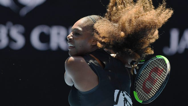 Serena Williams of the USA in action against Nicole Gibbs of the USA during Round 3 of the Australian Open.