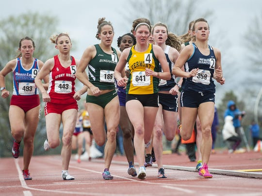 Vermont's Amber Piersol competes in the women's 1500m race during the America East outdoor Track Field Championships at the Frank H. Livak Facility on the campus of the University of Vermont on Sunday in Burlington.