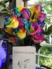 Rainbow roses from F-T-D.