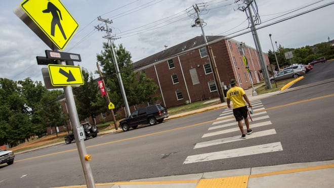 New crosswalk sign in front of Foy Center at Austin Peay State University.