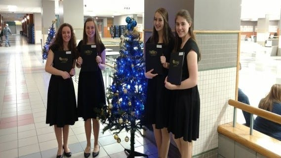 Hailey Eriksen (from left), AnnaMarie Storbeck-Pelc, Julie Schwendenmann and Olivia Hubbell.
