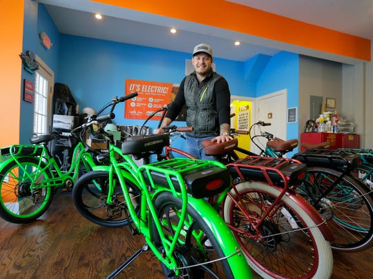 Adam Levine, owner of Pedego Electric Bikes, displays some of his electric bikes in Spring Lake, NJ Wednesday, January 10, 2018.