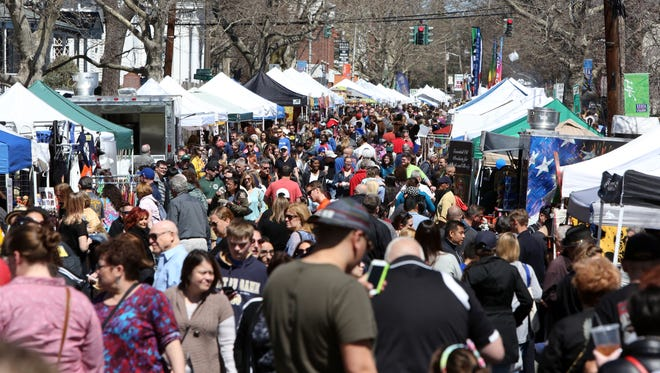 Crowds of people check out the vendors on South Broadway during the Nyack SpringFest Street Fair, April 9, 2017.