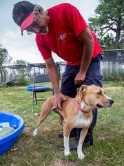 Jim Wilke scratches Ginger, one of the couple's favorite dogs that they've taken in. RezQ Dogs insists on taking back any dogs that don't fit with the family and are looking for a new home for Ginger after her last family changed their mind.
