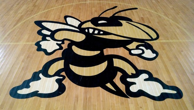 "Rosenwald School's ""Yellow Jacket"" mascot adorns the floor of the gymnasium at the Rosenwald Community Center in Waynesboro."