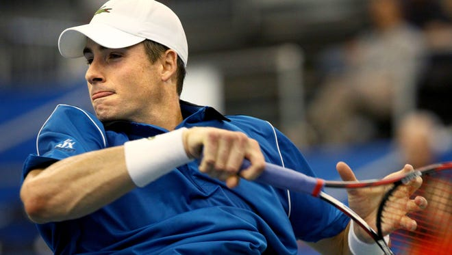 John Isner during his Feb. 11, 2015 match against Ivan Dodig at the Memphis Open held at the Racquet Club of Memphis.