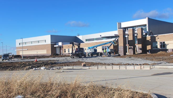 Less than a year away from opening day, work at Liberty High continued on Dec. 6, 2016. Physical Plant Director Duane Van Hemert said a majority of the building's exterior work is finished and construction of the new high school in North Liberty is on schedule for completion in August 2017.