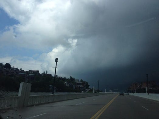 Ominous clouds hang in the sky near Mt Adams Wednesday afternoon as a tornado watch was issued for the region.