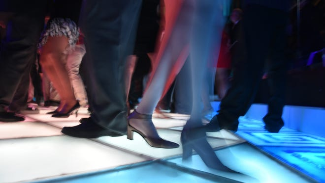 Dancers' feet are constantly moving on the floor at Adelphia Restaurant in Deptford at Bob Pantano's Dance Party.