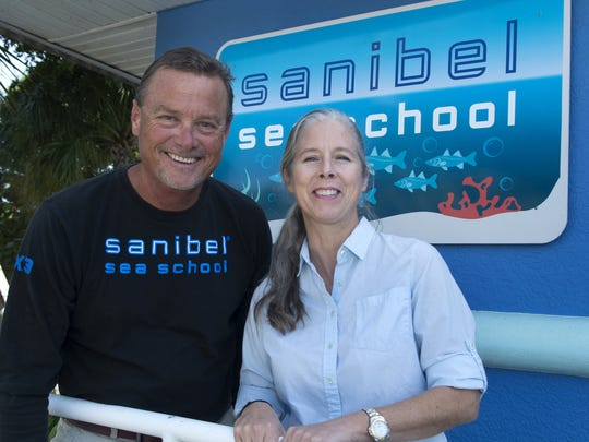 Sanibel Sea School founders J. Bruce  (left) and Evelyn Neill  at their school on  Periwikle Way on Sanibel Island.