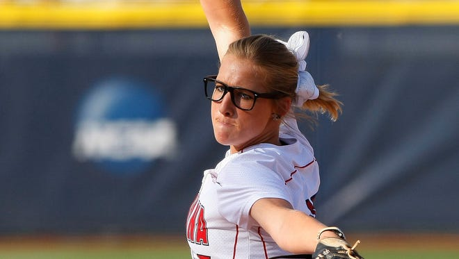 UL's Christina Hamilton pitches against Kentucky in the College World Series.