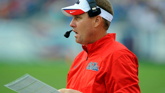 Mississippi Rebels head coach Hugh Freeze during the second half against the Vanderbilt Commodores at LP Field. Mississippi won 41-3. Mandatory Credit: Christopher Hanewinckel-USA TODAY Sports