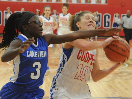 Cooper's Cheyenne Sherwood, right, drives to the basket