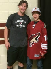 Josh Knight with the Arizona Coyotes' Shane Doan.
