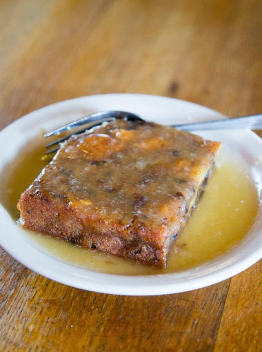 Bread Pudding with whiskey sauce at Texaz Grill in Phoenix.