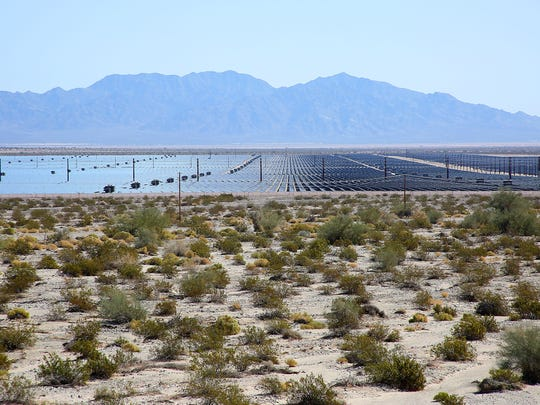 Open desert surrounds the 550-megawatt Desert Sunlight solar farm on federal land in Riverside County, California.