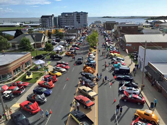 The Wheels on the Waterfront Cruise-In in downtown Crisfield. Crisfield will be starting point for the proposed rails-to-trails project along the Route 413 corridor.