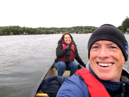 Holly Odgers and Bill Wooley paddle Lake Hopatcong