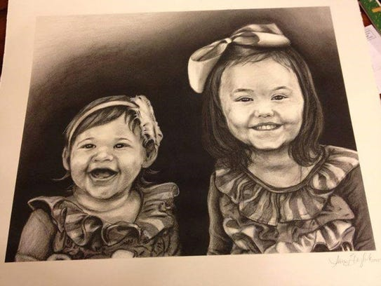 A charcoal of  Ila Grace and Ava Wooten, daughters
