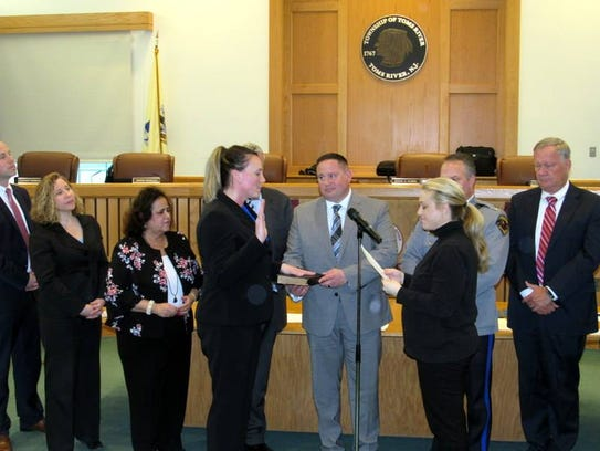 Christine Gesky is sworn in as a Toms River police