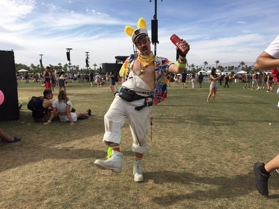 A man shows off his festival attire during Weekend 1 of the Coachella Valley Music and Arts Festival.