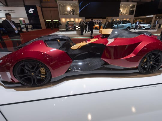 The new car Engler F.F Superquad is presented during the press day at the 89th Geneva International Motor Show in Geneva, Switzerland, Wednesday.