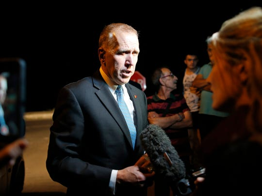 Thom Tillis, a US Senator for North Carolina, talks to the media outside the court in Aliaga, Izmir province, western Turkey, Monday, April 16, 2018, where the trial of jailed Andrew Craig Brunson who served as the pastor in Izmir, western Turkey, was held. Brunson, 50, a US evangelical pastor from North Carolina, was arrested in December 2016 for alleged links to both an outlawed Kurdish insurgent group and the network of the U.S.-based Muslim cleric who Turkey blames for masterminding a failed military coup that year. The court adjourned trial until May 7, 2018 and ruled that Brunson remain in custody until then.(AP Photo/Lefteris Pitarakis)