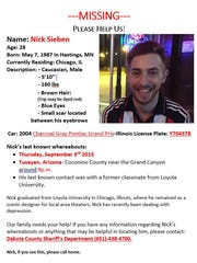 Missing persons flyer for Nick Sieben