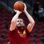 Cavaliers' Kevin Love out with sore left hip against Sixers