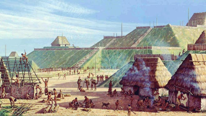 An artist's rendering of the ceremonial center of Cahokia, which was located near present day St. Louis. Archaeological evidence demonstrates that trade existed between residents of Cahokia and Native Floridians long before European contact.