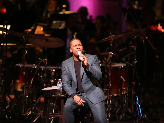 "Leslie Odom Jr. performs Roberta Flack's ""Killing Me Softly"" with the Milwaukee Symphony Orchestra under the baton of conductor Yaniv Dinur at the Marcus Center for the Performing Arts Friday night."