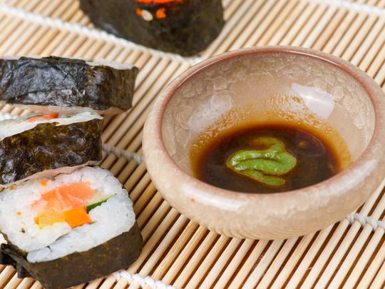 One rule of sushi etiquette: Do not make wasabi soup; only add a bit to dissolve in the soy sauce.