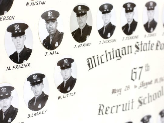 Photos of the 67th Michigan State Police recruit school from 1967 show retired Michigan State Police Capt. Jack Hall among all white recruits.