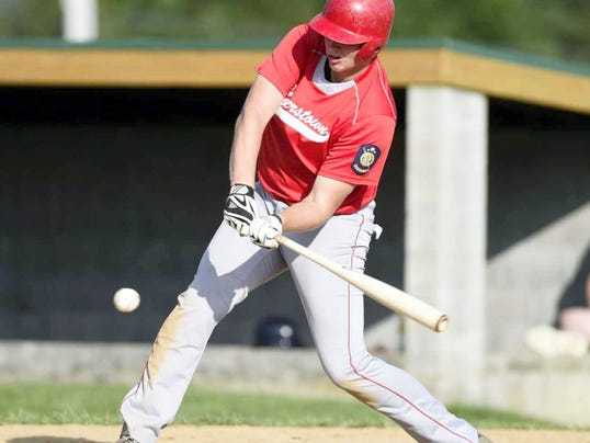 Brett Bawiec (20) was one of five Myerstown hitters to collect a base hit during a four-run third inning in Myerstown's 8-3 Legion playoff win over Richland on Friday night.